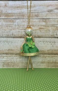 French doll pendant doll necklace Luck of the Irish St. Patty's Day jewelry by ElliesBelles