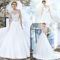 2015 New Collection Wedding Dresses Scoop Neck Sheer Beaded Backless Bridal Wedding Ball Gowns Chapel Length Empire A-line Soft Tulle Online with $136.18/Piece on Hjklp88's Store
