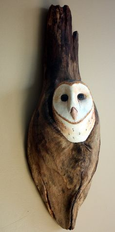 Wood Sculpture Barn Owl Bird Hand Carved, Carving Wall Hanging. Etsy.