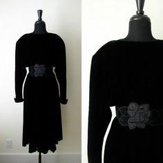 Vintage 1980's Thierry Mugler Dress / 80's Avant Garde Black Velvet Dress / Little Black Dress LBD