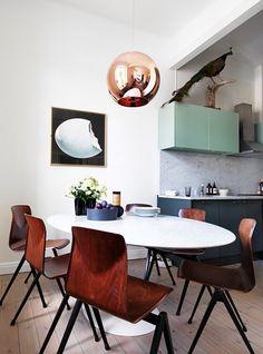 love the colours, copper, mint marble and black. Trend: Green kitchen - via Coco Lapine Design Deco Design, Küchen Design, House Design, Design Ideas, Design Projects, Garden Design, Modern Design, Home Interior, Kitchen Interior