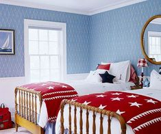 Decorating with red, white and blue for the Memorial Day or the 4th of July