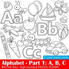 Alphabet Digital Stamps Part 1 ABC clip art от pixelpaperprints