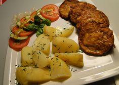 Cikánský řízek recept - TopRecepty.cz Baked Potato, Potatoes, Chicken, Meat, Baking, Ethnic Recipes, Czech Recipes, Chef Recipes, Potato