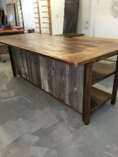 Kitchen island salvaged barn wood,reclaimed wood shelves,barn siding