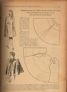 Vintage 1940s Coat Dress Cape Pattern Draft