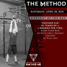 "WORKOUT OF THE DAY Saturday April 28 2018 . ""PARTNER EVA"" IN TEAMS OF 2 5 ROUNDS FOR TIME: - 800m Team Run - 30 Kettlebell Swings (70/53#) - 30 Pull-ups . : @andrewandtianna . . . . . @definedathleticsmethod by @definedathletics Available on @sugarwod . . #definedathletics #definedathleticsmethod #sugarwod #damethod #themethod #method #training #functionalfitness #methodathlete #methodaffiliates #affiliates #athletes #competitor #fitness #lifestyle #workout #workoutoftheday #wod…"