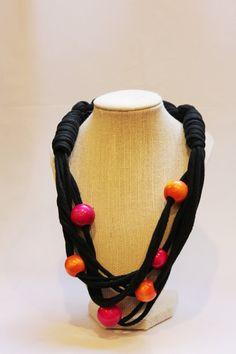 Black Upcycled T-Shirt Necklace