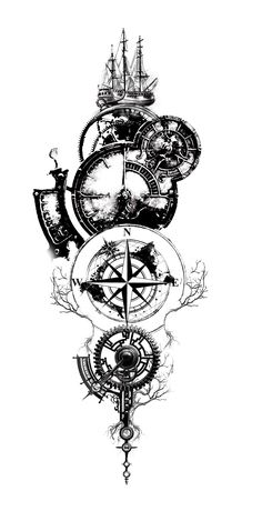 Amazing Compass Tattoo Designs and Ideas Ideas ., 65 Amazing Compass Tattoo Designs and Ideas Ideas . Tattoo Henna, Forearm Tattoo Men, Leg Tattoos, Body Art Tattoos, Sleeve Tattoos, Tattoo Ink, Clock Tattoo Sleeve, Tattoo Clock, Sailor Tattoos