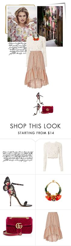 """""""butterfly"""" by beingaries ❤ liked on Polyvore featuring Post-It, Tim Holtz, A.L.C., Sophia Webster, Elizabeth Cole, Gucci and LoveShackFancy"""