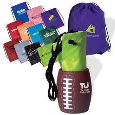 Combines the String-a-Sling Backpack with the football Can Holder. Includes a imprint on each item of the combo. Can holder surface is not smooth so choose a large font or point for imprints. Hand wash only. Not dishwasher safe or microwavable. Bar Mitzvah Favors, Trade Show Giveaways, Personalised Pens, Custom Football, Promotional Giveaways, Can Holders, Thing 1, Bat Mitzvah, Corporate Gifts