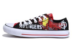 Converse Iron Man Printed The Avengers Comics Black Red Low Tops Shoes.. Buying these!!