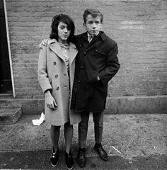 teenage couple on hudson street, new york, 1963 - by diane arbus