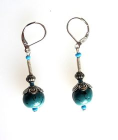 Turquoise Polymer Clay Earrings by SarahsArtisanJewelry on Etsy, $10.00