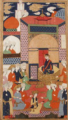 A Court Scene, Page from a Manuscript of Habib al-Siyar (Friend of Biographies) of Khwandamir Iran, Qazvin or Isfahan, 1625