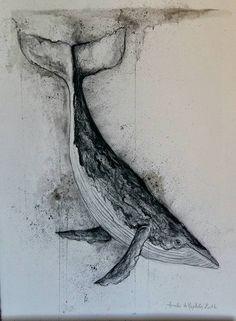 Baleine réalisée au fusain, à l'encre et à l'aquarelle. 50/70 cm