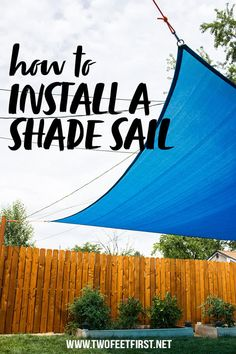 Add more shade to your backyard with a DIY shade sail installation. Shade sails provide protection from the sun during the hot summer days. Deck Shade, Pool Shade, Patio Sun Shades, Sun Sail Shade, Backyard Shade, Outdoor Shade, Shade Sails, Garden Sun Shade, Outdoor Fun