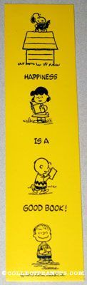 """Peanuts gang reading books Bookmark """"Happiness is a good book""""  --  Bookmarks  --  CollectPeanuts.com"""
