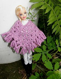 Ravelry: Barbien poncho pattern by Jaana Laine Crochet Barbie Patterns, Crochet Barbie Clothes, Crochet Patterns Amigurumi, Crochet Dolls, Doll Patterns, Knit Crochet, Crochet Hats, Barbie Dress, Barbie Doll