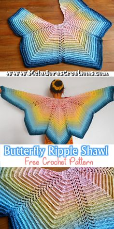 Butterfly Ripple Shawl - Butterfly shawl - Crochet shawl - - Share this: This Butterfly Shawl really looks like a Butterfly! If I only knew that this Yarn Cake was going to crochet out like this, I would have used it much earlier! Wow the colors […]. One Skein Crochet, Crochet Pattern Free, Crochet Shawl Free, Crochet Shawls And Wraps, Crochet Scarves, Crochet Stitches, Crochet Patterns, Crochet Hats, Crochet Ripple
