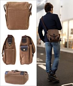 137 Persimmon Juice Dyeing Canvas Collection Flap Shoulder Bag Man Bags Global