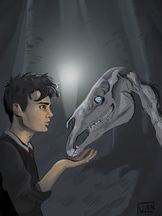 It's almost Halloween! So here's Harry and a thestral!