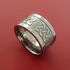 Titanium Wide Celtic Band Infinity Symbolic Wedding Ring Custom Made to Any Size