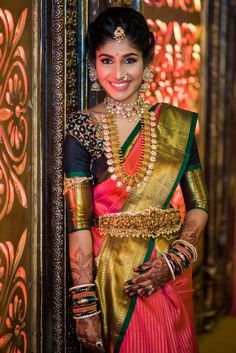 Latest 40 Classic Bridal Pattu Sarees For Your Wedding Day Indian Bridal Sarees, Indian Bridal Fashion, Indian Wedding Jewelry, Indian Jewelry, Indian Weddings, South Indian Bridal Jewellery, Pattu Saree Blouse Designs, Half Saree Designs, Bridal Blouse Designs