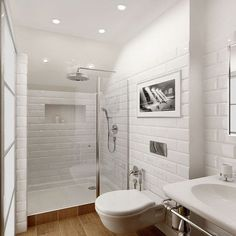 Bathroom Decor tiles * wunderkammer *: Metro Fliesen im Badezimmer /// Azulejos de metro en el bao /// Subway tiles in the bathroom Laundry In Bathroom, Bathroom Renos, Basement Bathroom, White Bathroom, Bathroom Ideas, Bathroom Wall, Shower Ideas, Tiny Bathrooms, Modern Bathroom