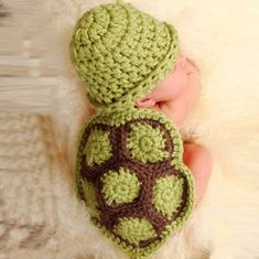 Feature: brand new and high quality. Quantity: 1 Material: knitting wool Recommend for months Color:Green Weight: Package Content: Girl Boy Newborn Turtle Knit Crochet Clothes Beanie Hat Outfit Photo Props Crochet Beanie, Knitted Hats, Knit Crochet, Cotton Crochet, Baby Kostüm, Baby Kind, Baby Girls, Crochet Baby Blanket Beginner, Baby Knitting