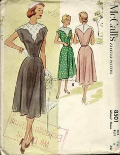 Vintage 1950s Pattern Scallop Contrast Yoke Brief Sleeves Flared Midi Skirt Dress 1951 McCalls 8501 by sydcam123