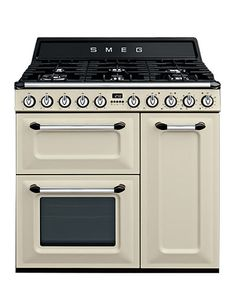 The Smeg tr93p range cooker has two fan assisted ovens, separate grill with 6 burners and a digital timer. Finished in cream and black. 1 year parts and labour warranty.