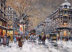 Antoine Blanchard  (1910 - 1988)  Les Grands Boulevards, sous la Neige