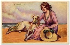 Illustration of woman on beach with her hound -- by Tito Corbella (Italian, 1885--1966); posted by ilclanmariapia
