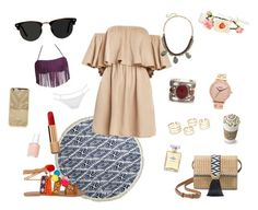 """Nude"" by elisabouyrie ❤ liked on Polyvore featuring The Beach People, Stella & Dot, Ace, Panacea, Nixon, MOEVA, Chanel and Essie"