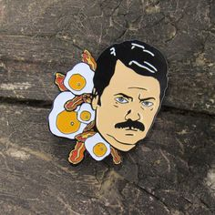 "Ron Swanson 1.75"" Soft Enamel Pin"