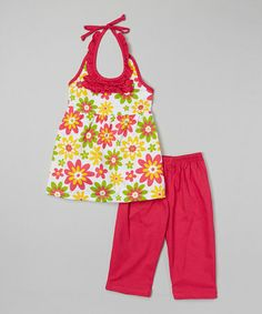Another great find on #zulily! Fuchsia Floral Halter Top & Leggings - Infant, Toddler & Girls #zulilyfinds