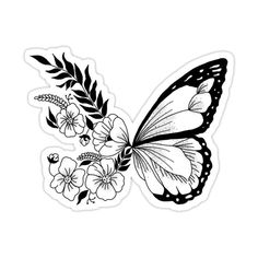Monarch Butterfly Tattoo, Butterfly Tattoos Images, Butterfly With Flowers Tattoo, Butterfly Tattoo Designs, Simple Butterfly Drawing, Butterfly Sleeve Tattoo, Red Ink Tattoos, Black Tattoos, Body Art Tattoos