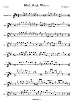 Black Magic Woman by Santana Sheet Music for Sax. Santana Sax Music Score Rock-Pop Music
