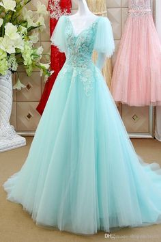 2015 New Arrival Elegant A-line Prom Evening Party Gown Queen V-neck Cap Sleeve Appliques Pearl Custom Made Fahsion Organza Gorgeous Cute Online with $137.3/Piece on Shiqiushibridal's Store | DHgate.com