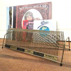 Vintage Record Album Holder with labels (45s) #americana #vinyl #records #recordalbums #recordshelf #recordorganizers #vintagedecor #vintagestyle #retro #retrostyle #etsy