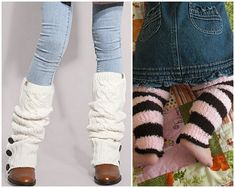 Make leg warmers from old sweaters. Just cut off the sleeves, turn inside out, and hem. I can do this! Also great for babies and kids, good gift idea.