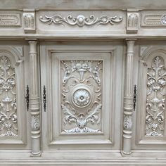 Wonderful intricate carved French sideboard / Henri II antique painted lime…