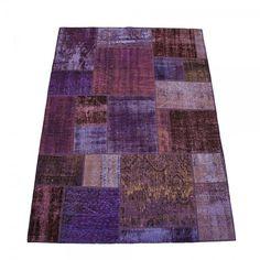 Violet Overdyed Patchwork Rug, Vintage Over dyed Rug
