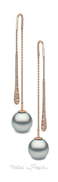Yoko rose gold, diamond & pearl drop earrings | House of Beccaria~