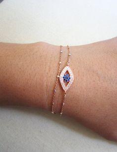 Evil Eye bracelet, layered bracelet, Rose gold satellite chain, Evil Eye Jewelry, celebrity inspired jewelry on Etsy, $64.00
