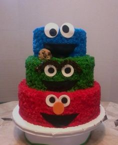 Sesame Street Birthday 6, 8 & 10 inch cakes with butter cream and mmf accents.