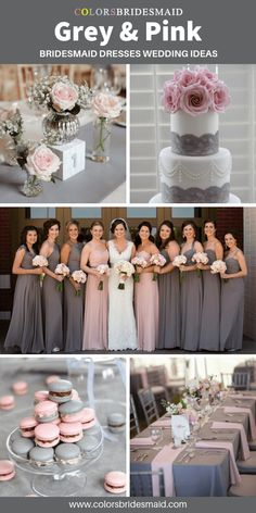 Grey bridesmaid dresses wedding color ideas, grey bridesmaid dresses mismatched with pink dresses, white and grey wedding cake with pink flower topper, grey table cloth with pink table runner and small dessert in grey and pink. Pink And Grey Wedding Cake, Grey Wedding Theme, Blush Wedding Cakes, Gray Wedding Colors, Blush Pink Weddings, Cake Wedding, Gray Weddings, Grey Bridesmaids, Mismatched Bridesmaid Dresses