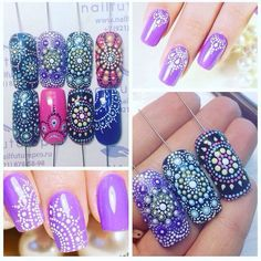 Multicoloured intense dotted nail art