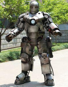 China telecoms worker wears Iron Man costume